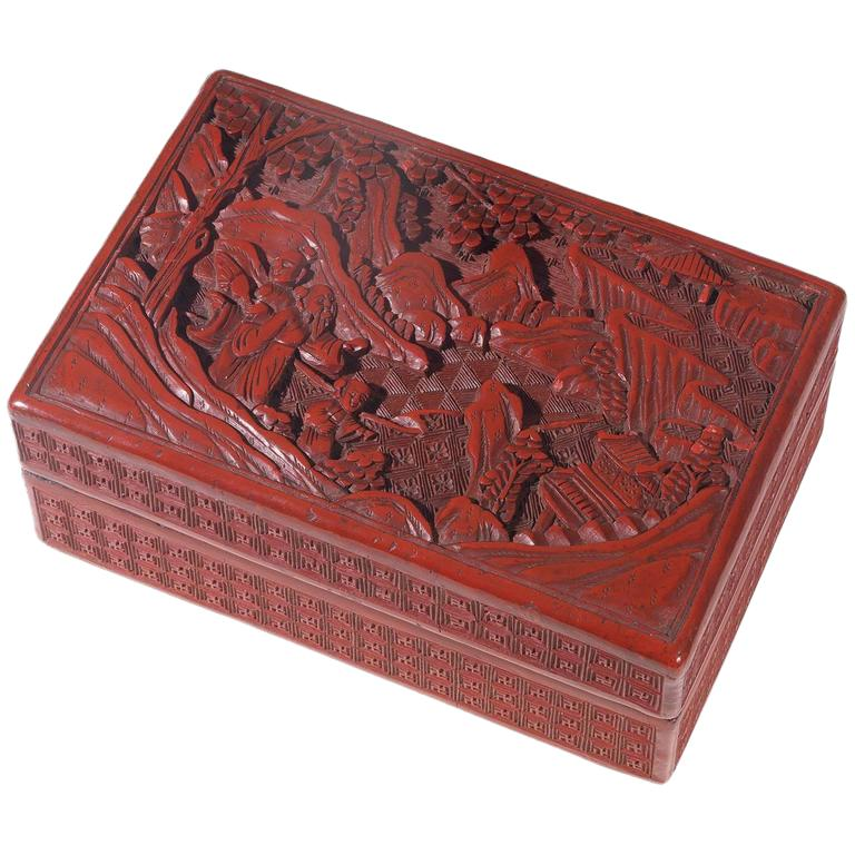 Antique Chinese Cinnabar Lacquer Rectangular Box and Cover For Sale