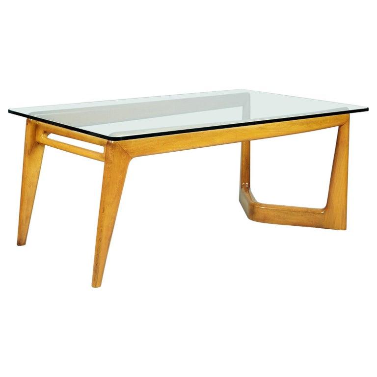 Pierluigi Giordani Monumental Biomorphic Dining Table, Walnut&Glass, Italy 1950s For Sale