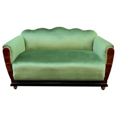 Small Art Deco Sofa Newly Upholstered with Acid Green Velvet, 1940s