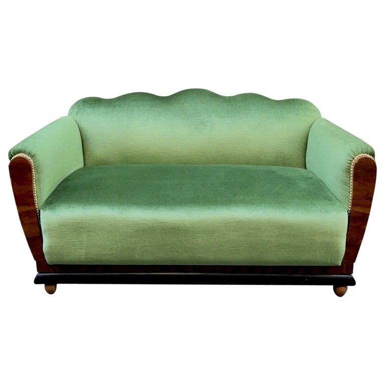 Small Art Deco Sofa Newly Upholstered With Acid Green Velvet 1940s For Sale At 1stdibs