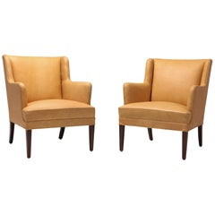 Scandinavian Modern Bergere Chairs in Camel Leather