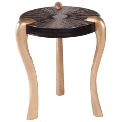 Amorph Iva Side Table, Gold Finish and Gold Leaf on Black Lacquered Top