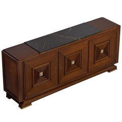 Art Deco Credenza in Oak with Marble Top and Brass Details, 1930s