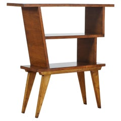 Italian Walnut and Oak Veneer Asymmetrical Bookshelf, Mid-20th Century