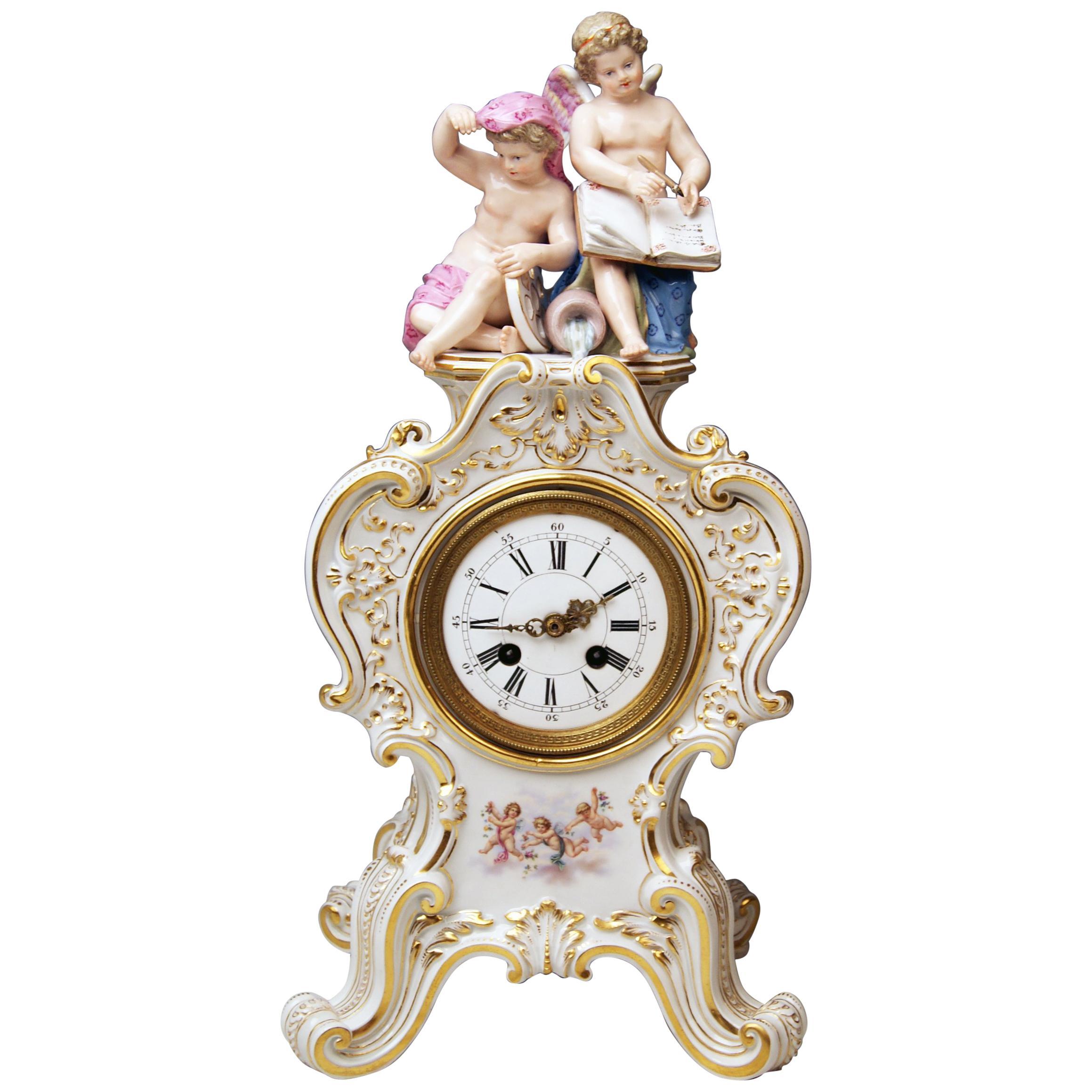 Meissen Mantle Table Clock Allegory of Water Ernst August Leuteritz, circa 1880
