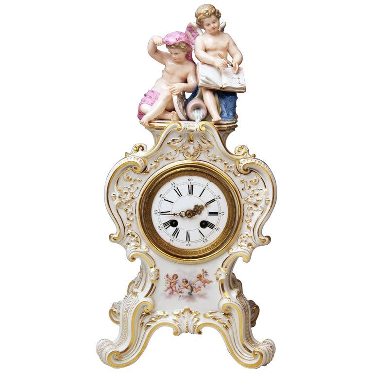 Meissen Mantle Table Clock Allegory of Water Ernst August Leuteritz, circa 1880 For Sale