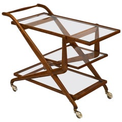 Midcentury Wood and Glass Cesare Lacca Style Bar Cart