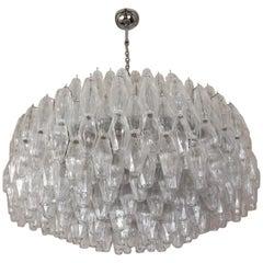 Venini Midcentury Crystal Murano Glass Poliedri Chandelier by Carlo Scarpa, 1990