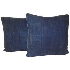 Pair of Indigo Woven Strips African Decorative Pillows