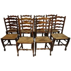 Eight Elmwood Lancashire Ladder Back Dining Chairs, English Early 20th Century