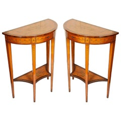 Small Pair of Sheraton Style Console Tables, 19th Century