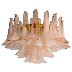 Modern Murano Glass Pink and White Petals Chandelier