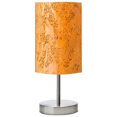 SERRET Brushed Nickle Table Lamp with Karelian Burl Wood Shade