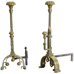 Pair of French Baroque Style Cast Brass Andirons, 2nd Half 19th Century
