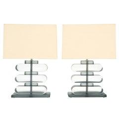 Geometric Clear Murano Glass Lamps