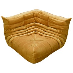 Togo Corner Couch in Golden Yellow Velvet by Michel Ducaroy by Ligne Roset