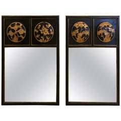 Pair of Japanese Style Black and Gold Mirrors