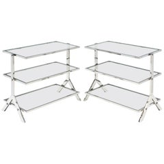 Glass and Chromed Steel Console or Side Tables