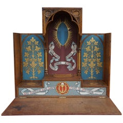 Antique Early 20th Century Carved & Hand Painted Gothic Revival Traveling Altar