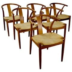 Set of 6 Cherry Wishbone-Style Dining Chairs