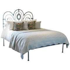 Antique Platform Bed in Blue Verdigris, MK175