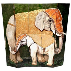 Five-Panel Room Divider by Doro with Two Painted Asiatic Elephants, Italy, 1980s