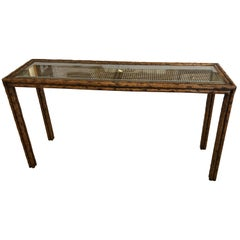 Handsome Mid-Century Modern Faux Bois and Caned Console Table