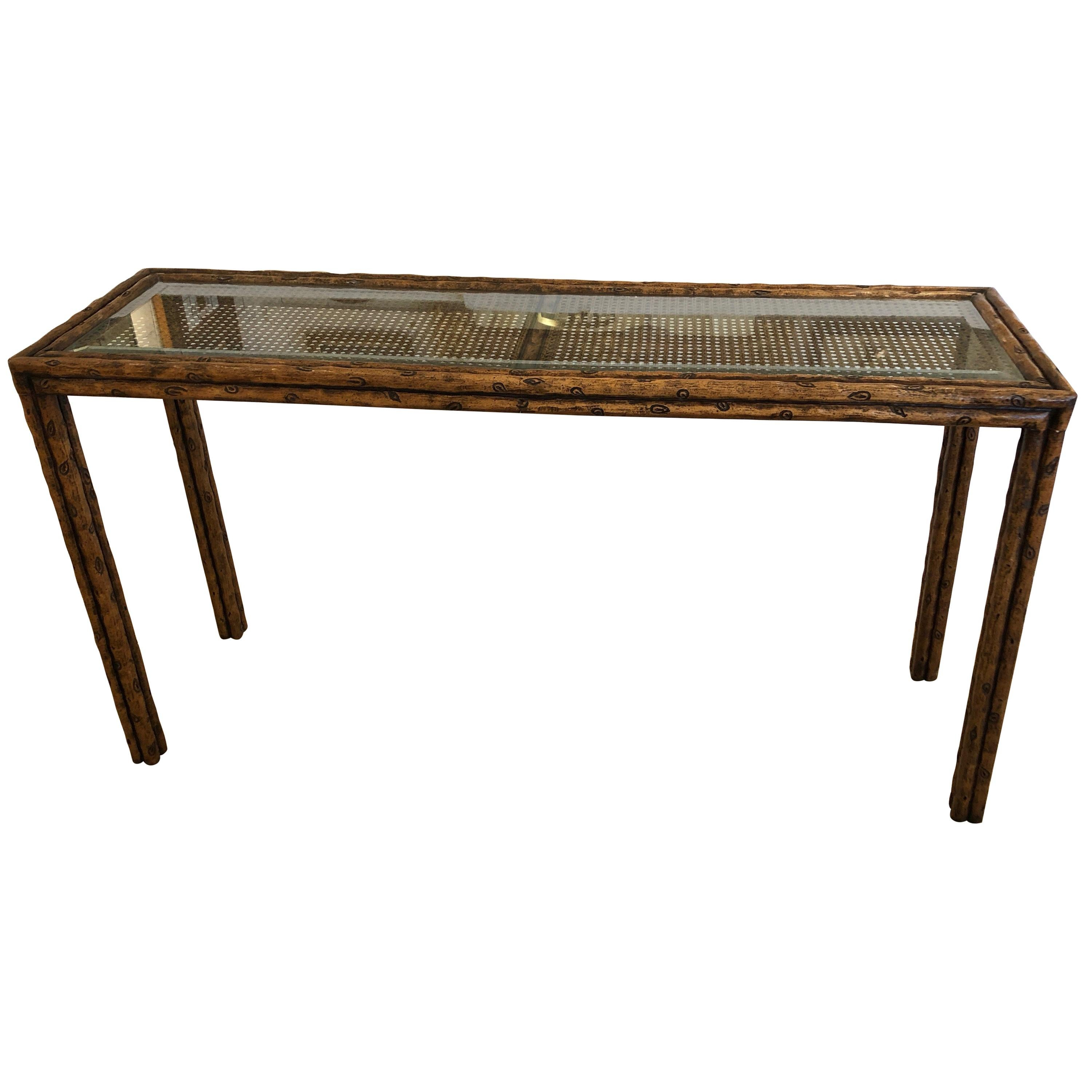 Charmant Handsome Mid Century Modern Faux Bois And Caned Console Table