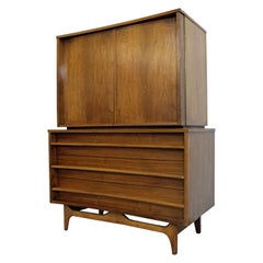 Mid-Century Modern Concave Front Walnut Tall Chest Armoire
