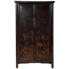 18th Century Chinese Black Lacquer Tapered Cabinet