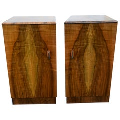 Matching Pair of Art Deco Walnut Bedside Table Cabinets