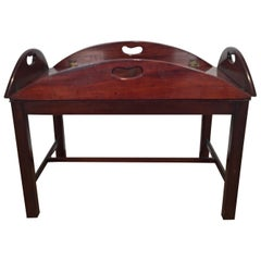 Richly Figured Mahogany Warm Patina Antique Butlers Tray on a Later Base