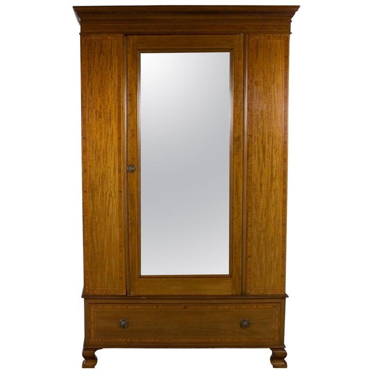 Edwardian Period Mirror Door Wardrobe Armoire Closet