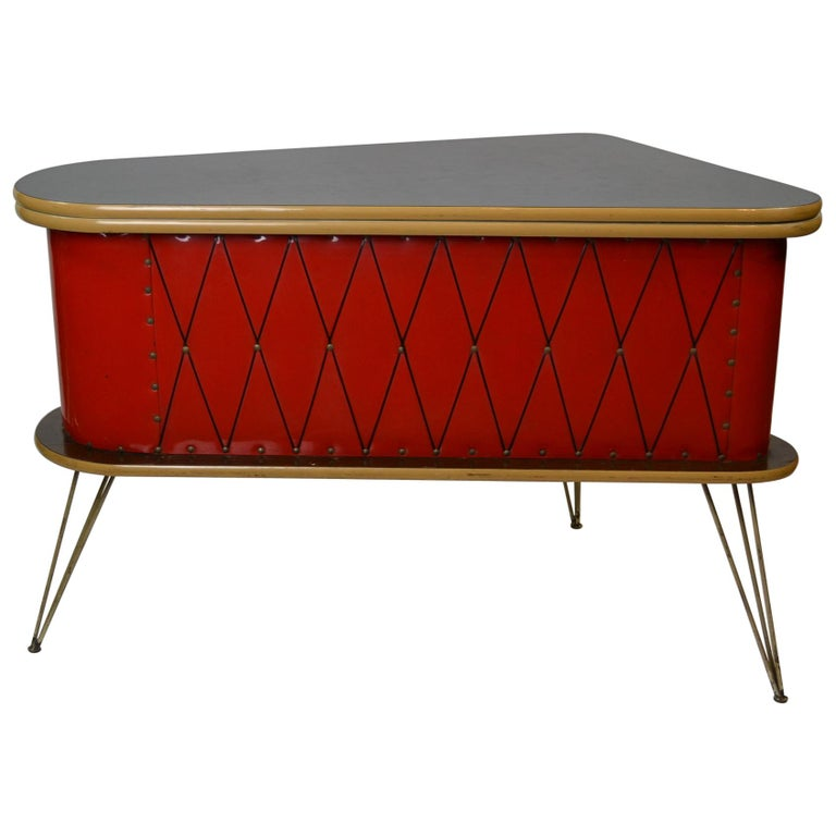 1950s Red Storage Cabinet, Home Bar For Sale