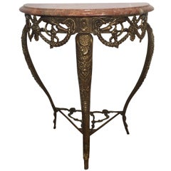 Rouge Marble Top on a Richly Detailed Brass Support, Cabriole Legs, Mid-1900s