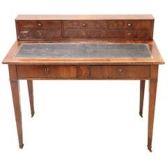 19th Century Italian Louis Philippe Mahogany Wood Writing Desk
