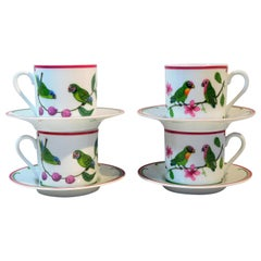 "Lynn Chase ""Parrots of Paradise"" Set of 4 Porcelain Espresso Cups and Saucers"