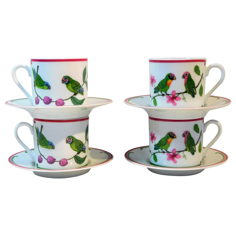 "Lynn Chase ""Parrots of Paradise"" Set of 4 Porcelain Espresso Cups and Saucers For Sale"