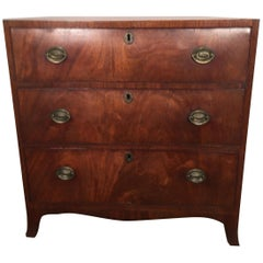 George III Mahogany Chest, Rare Small Size & Beautiful Grain, England circa 1790