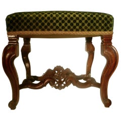 Pair of English Baroque Carved Walnut, William and Mary Upholstered Benches