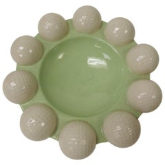 Vintage Modern Round Green and White Golf Balls Ashtray