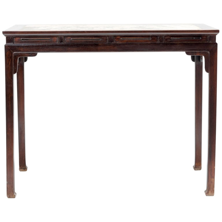Chinese Rosewood Table with Marble Top For Sale