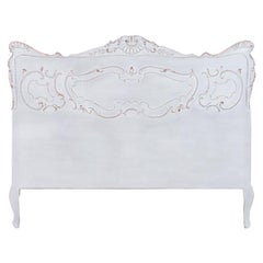 Vintage French Queen Size Bed Painted White