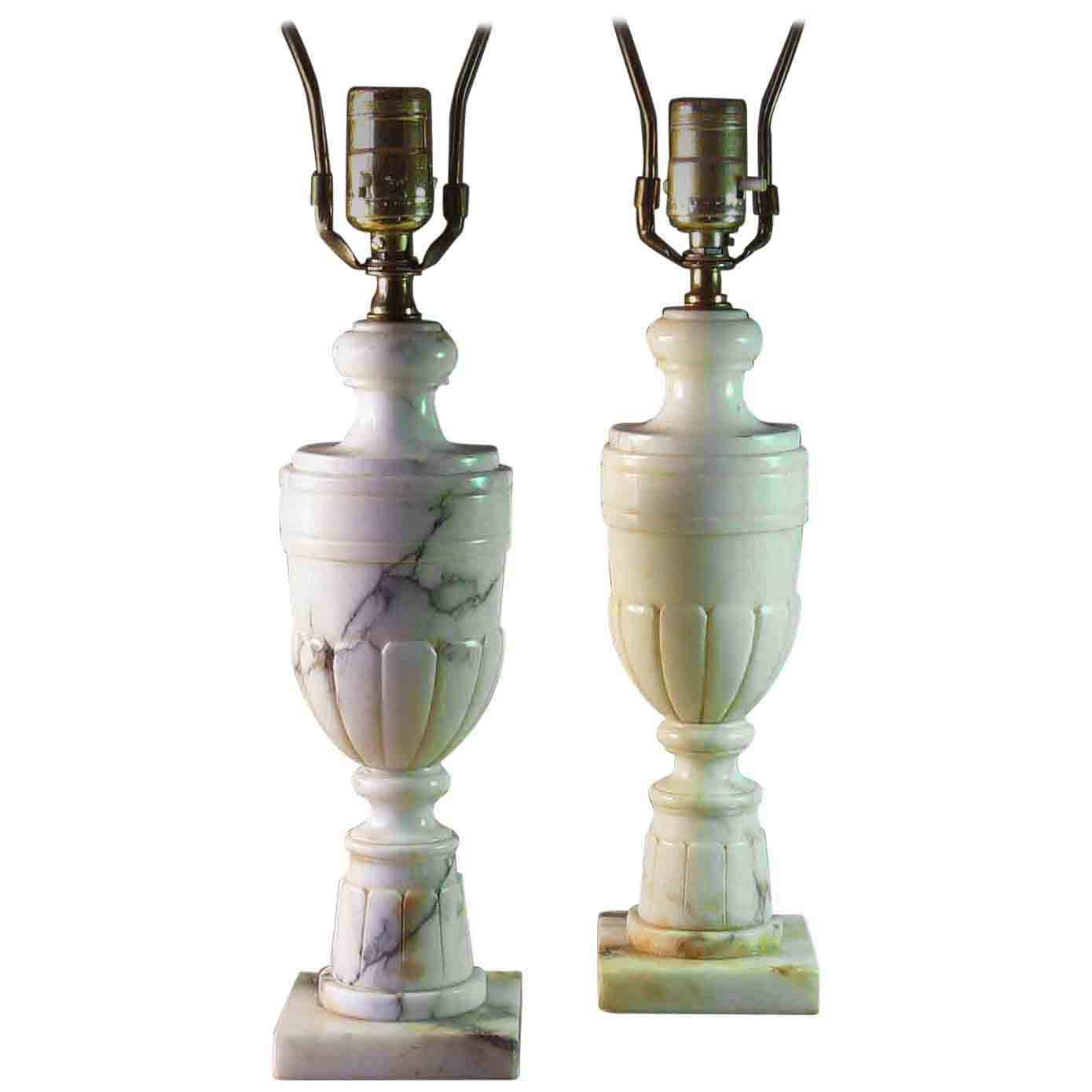 Pair of Neoclassical Veined Alabaster Marble Urn Shaped Table Lamp