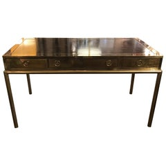 Mastercraft Brass and Leather Top Desk