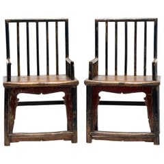 Pair of 19th Century Chinese Spindle Back Armchairs