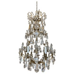 Period 18th Century Louis XV Bronze and Rock Crystal Chandelier