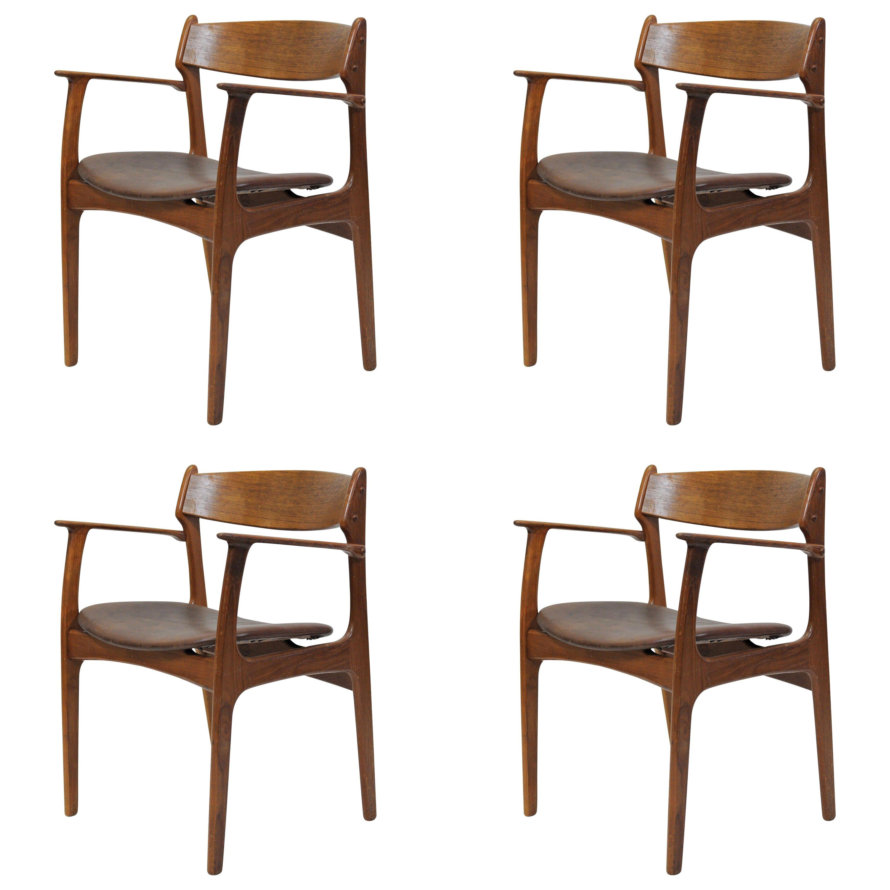 1950s Set of Four Refinished Erik Buch Armchairs in Teak, Inc. Reupholstery