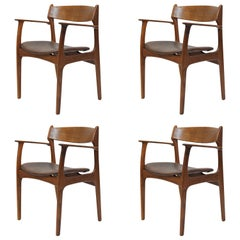 1950s Set of Four Erik Buch Model 50 Armchair in Teak