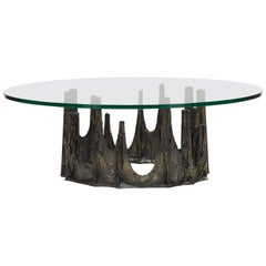 "Paul Evans Bronze and Glass ""Stalagmite"" Coffee Table"
